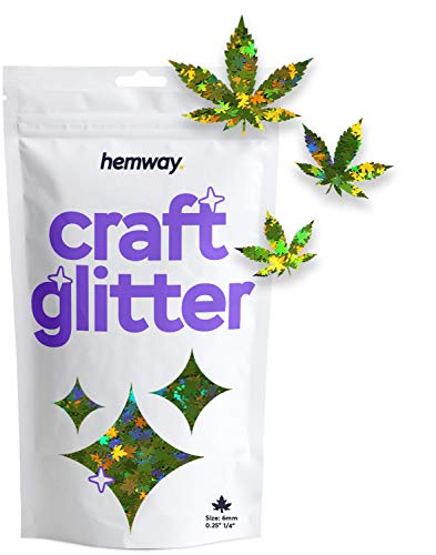 """Hemway Craft Glitter - 1/4"""" 0.25"""" 6mm - Weed Leaf Cosmetic Glitter - Festival Rave Beauty Makeup Face Body Nail - Pot Weed & Marijuana Leaves - Lime Green Holographic - 50g"""