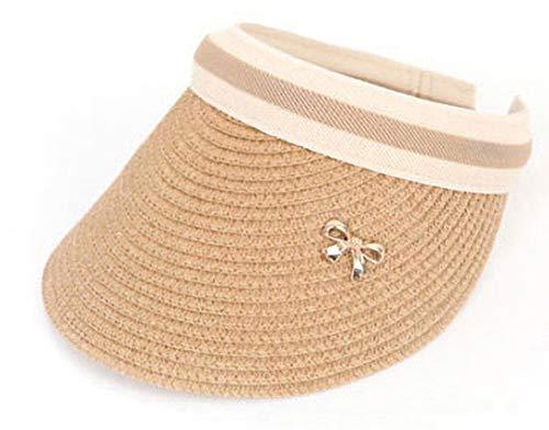 POPKORS ストストロー(紙) リボン サンバイザー 日焼け防止 UVカット 麦わら 帽子 通気性抜群 吸汗速乾 カジュアル メンズ レディース 帽 帽子 キャップ 男女兼用/Straw SunVisor Cap (ベージュ)