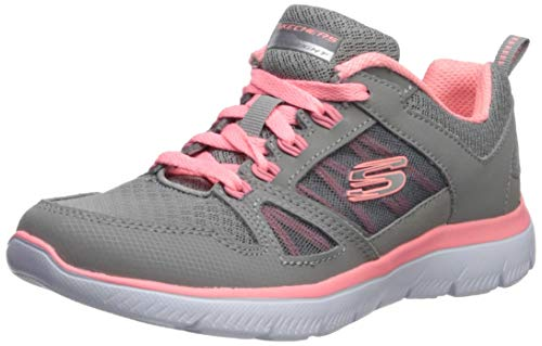 Skechers Summits-New World, Zapatillas para Mujer, Gris (Gray Leather/Mesh/Coral Trim Gycl), 37 EU