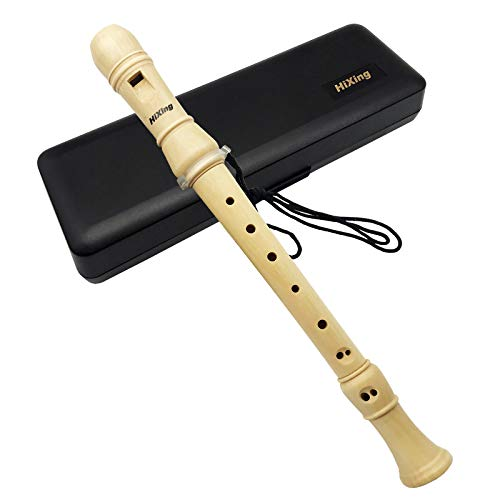 HiXingA103 Recorder Instrument for Kids Adults Beginners Soprano Recorder Baroque Maple Wood C Key 3 Piece Recorder With Hard Case Joint GreaseFingering Chart And Cleaning Kit