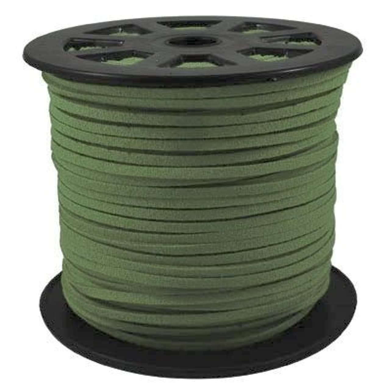 BeadsTreasure Dark Green Suede Cord Lace Leather Cord For Jewelry Making 3x1.5 mm-20 Feet.