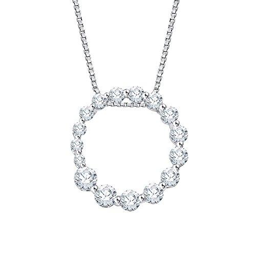 """14K Blanco Oro 1/4CT. Diamante """"viaje de amor"""" la moda colgante con cadena"""
