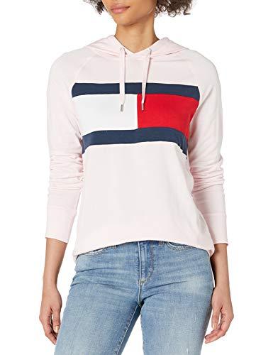 Tommy Hilfiger Damen Hooded Long Sleeve T-Shirt Hemd, Rosa Blüte, X-Groß