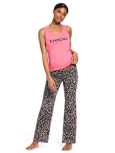 bebe Womens Sleeveless Scoop Neck Top Pants Pajama Set Bright Rose Heather Large