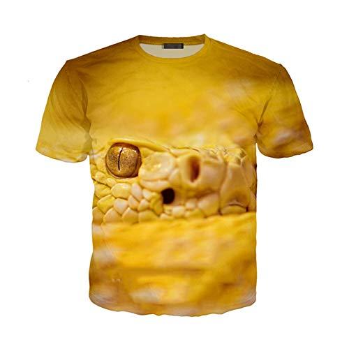 Serpiente Camiseta Verano Hombres Mujeres Sudadera Estampado 3D Animal pitón Manga Corta Streetwear pulóver 14 Asia XS
