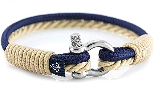CONSTANTIN NAUTICS SAIL WITH US Maritimes Armband aus Segeltau, handgemacht, für Damen und Herren, mit Edelstahl Schäkel-Verschluss 3mm CNB #863 18cm