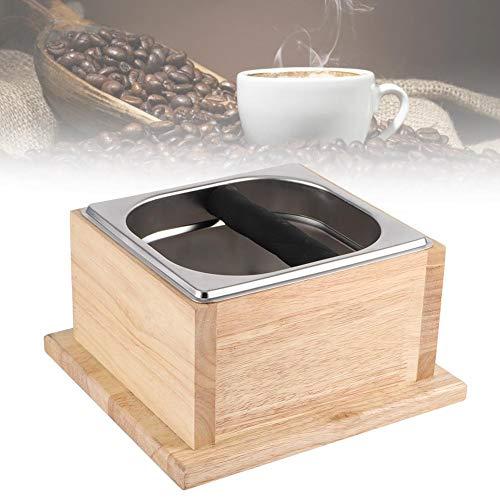 Klopbak, koffieklopbak van roestvrij staal en eikenhouten voet, klopbak voor thuis/melkwinkel/bar/café, eenvoudig legen van koffiedik