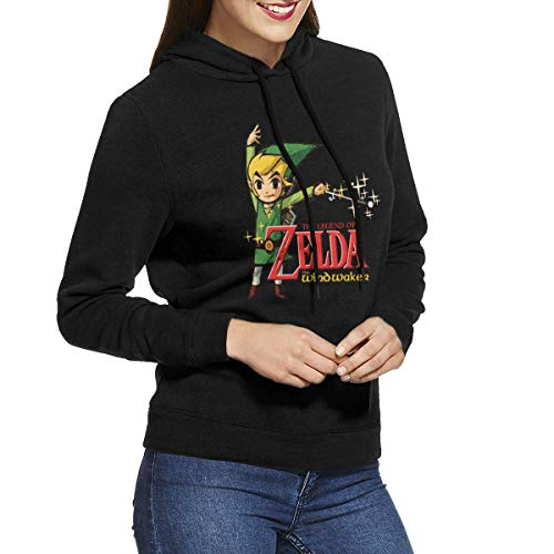 Tengyuntong Hombre Sudaderas con Capucha, Sudaderas, Womens The Legend of Zelda Wind Waker HD Classic Hoodie Sweatshirt Black