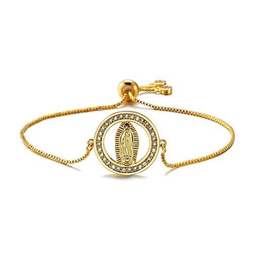 Nobrand Klassischer Zirkonia Christlicher Schmuck Einzigartiges Design Selige Jungfrau Maria Charm Armbänder Für Männer Frauen Heilige Mutter Geschenk
