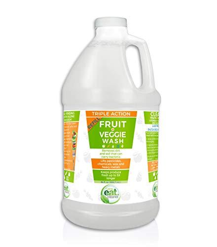Eat Cleaner Fruit and Vegetable Wash 64 Oz Refill – Signature Veggie Wash Bulk Liquid to Cleanse Fruit and Veggies, Keeps Produce Fresh, Vegan, Gluten Free, 64 Oz