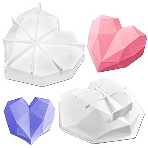 2 Pack Silikon Kuchenformen, FineGood Herzform Silikon Muffinschalen Silikon Schokoladenform Kuchenform für Käsekuchen