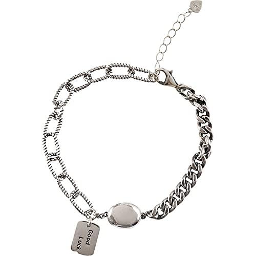 Qagazine Pulsera de cadena de eslabones de plata ajustable, elegante, atractiva pulsera de plata para mujeres y adolescentes