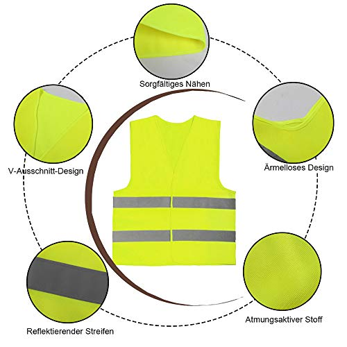 JHCtech 5 Stück Warnwesten Auto, Neon Gelb Waschbar 360 Grad Reflektierende Sicherheitsweste für Die Sicherheit Von Fahrern, Fahrern und Arbeitern mit Hohem Risiko(EINWEG) - 3