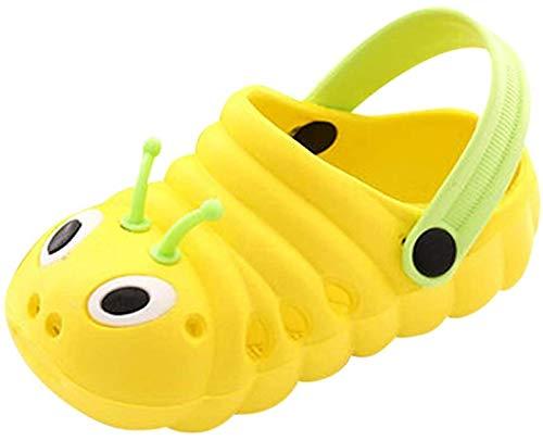 TMEOG Baby Sandals, Boys Girls Sandals Clogs Cute Caterpillar Slip On Lightweight Kid's Beach Slipper (Yellow, 18_Months)