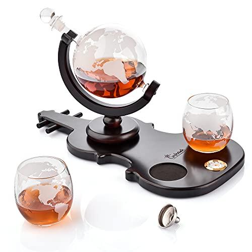 Globe Decanter Set – Set di decanter per whisky – Globe Liquor Decanter con supporto a forma di chitarra – 2 bicchieri – piccolo orologio – design inciso – bella confezione – biglietto incluso