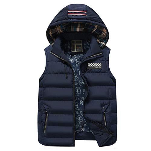 Hommes Gilet Veste sans Manches Manteaux Coton Veste Manteau Gilet Épaississement Dark Blue L