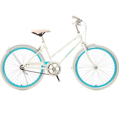 STAD Vélo Beach Cruiser À Une Vitesse pour Femmes, Vélo De Banlieue Confortable Vélo De Ville Cadre en Acier À Haute Teneur en Carbone Roues De 24 Pouces Plusieurs Couleurs,Pearl White