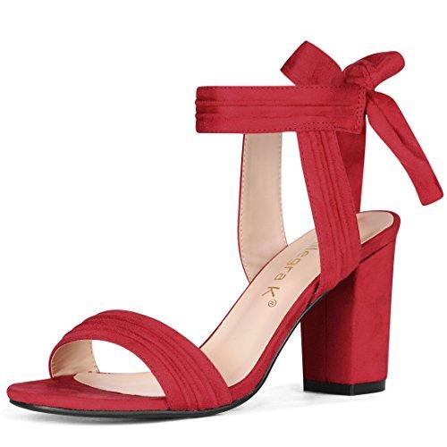 Allegra K Women's Open Toe Ankle Tie Back Chunky Heel Red Sandals - 10.5 M US
