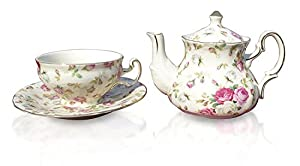 Elizabeth Park Floral Rose Chintz Tea Set for 1 Porcelain Cup, Saucer, Teapot