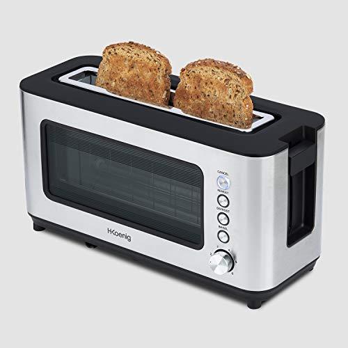 H.Koenig Grille pain Toaster 2 tranches Fentes larges Vitre Transparente Inox vintage VIEW7, 6 niveaux de brunissage, Décongélation, Pain Viennoiseries, Centrage auto, Nettoyage facile, 37x19x15cm