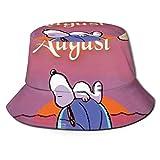 Bucket Hat Snoopy-Hello August Bucket Sun Hat para Hombres Mujeres -Protection Packable Summer Fisherman Cap para Pesca, Safari, Paseos en Bote en la Playa Negro