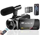 Camescope Camera Video 4K 30MP Caméscope avec Microphone Caméra Vidéo à Ecran Tactile de 3,0' Vlogging Caméra 16X Zoom Numérique avec Télécommande