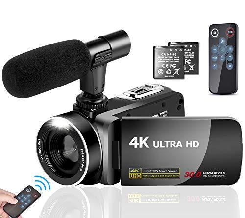 Camcorder Videokamera 4K 30MP Camcorder Full HD mit Mikrofon Vlogging Kamera für YouTube Videokamera 3,0 Zoll Touchscreen Digitalkamera mit Fernbedienung