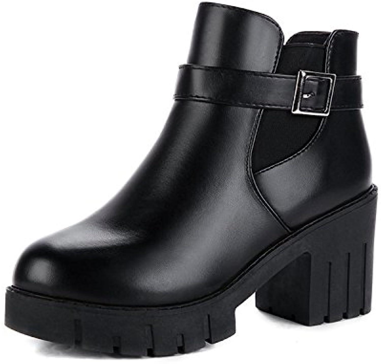 HOESCZS Stiefel Damen Woherren Winter Nackte Stiefel Kinder Stiefel Mode Wilde Dicke Mit Kurze Stiefel High Heel Damenschuhe Martin Stiefel