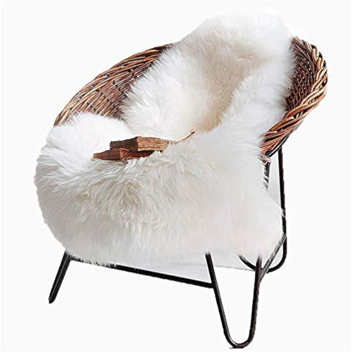 HY Faux Schaffell Teppich,Lammfellimitat Lammfell Teppich Kunstfell Dekofell in Longhair Fell Optik Nachahmung Wolle Bettvorleger Sofa Matte (Weiß, 60 x 90 cm)