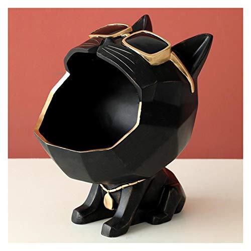 Bandeja de almacenamiento en forma de gato, estatua de escultura, decoración de escritorio, centro de mesa, decoración del hogar (color negro)