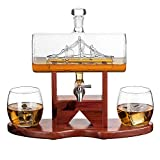 Whiskey Decanter Ship Set - With 2 Glasses and Beautiful Stand Gift for Dad, Husband or Boyfriend by...