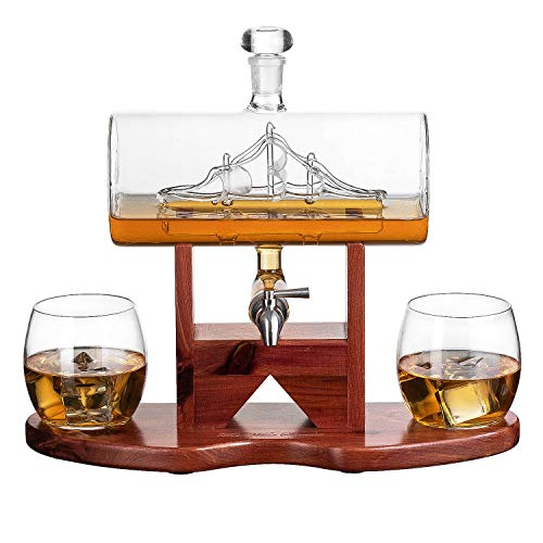 Whiskey Decanter 900mL Ship Set - With 2 8oz Glasses and Beautiful Stand Gift for Dad, Husband or Boyfriend by The Wine Savant