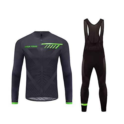 Uglyfrog Bike Wear Herren Langarm, Thermo-Fahrrad-Jersey, Lycra Selected Fabrics, Thermo Fleece Anzüge