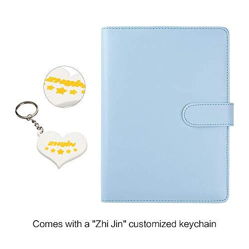 Zhi Jin, raccoglitore ricaricabile con inserti, adatto per quaderni e taccuini. Formato: A5. Con portapenne Mint Blue