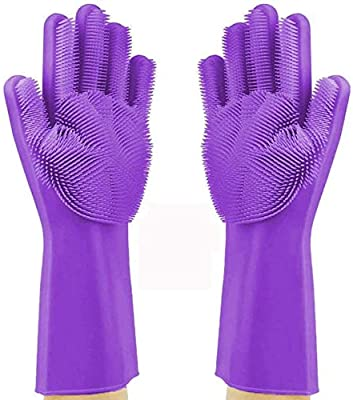 Kwick box Silicone Non-Slip, Dishwashing and Pet Grooming, Magic Latex Scrubbing Gloves for Household Cleaning Great for Protecting Hands - Standard Size - Multicolor