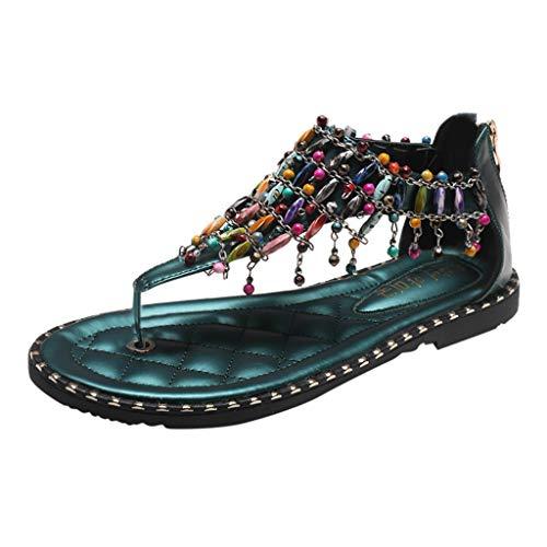 Sandalias de mujer bajas, elegantes, bohemias, étnicas, de playa, retro, de verano, tallas grandes, informales, de verano, de viaje