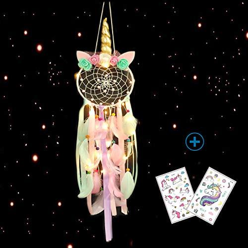 Nice Dream Einhorn Traumfänger mit LED Licht, Handgemachte Dreamcatcher mit Federn, Maiden Zimmer Schlafzimmer Romantische Dekoration