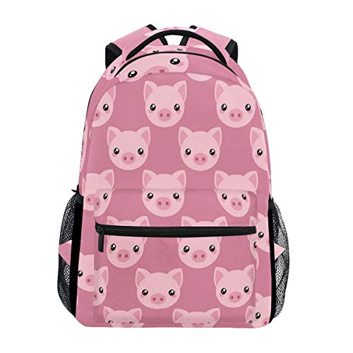 Pink Cartoon Pig Face Laptop Backpack Shoulder School Bag for Girls, Animal Water Resistant College Travel Computer Notebooks Computer Bag Daypack Bookbag for Kids Boys Women