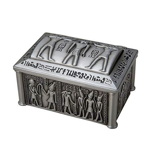 Preisvergleich Produktbild GonFan Vintage-Schmuck-Fall Im europäischen Stil ägyptischen Schmuck-Box,  vorzügliche Metall Desktop Storage Box,  Haushalt Kleine Schmuck-Box (Color : Silver,  Size : 9X6.2X5CM)