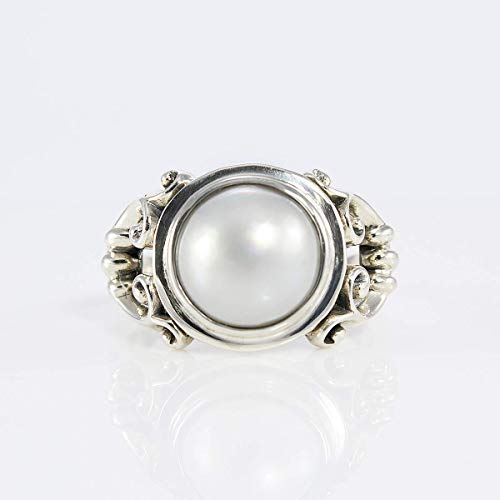 Bali Handmade 925 sterling silver with gorgeous and natural 10 mm white mabe pearl, beautiful bali design in round-shaped white mabe pearl ring, size 7