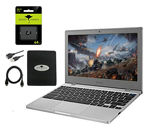 """Samsung Chromebook 4 11.6"""" Slim Laptop for Business and Student, Intel Celeron N4000, 4GB RAM, 64GB eMMC Gigabit, Wi-Fi, up to 12.5 Hours Battery Life, Chrome OS w/64GB Micro SD Card, GM Accessories"""