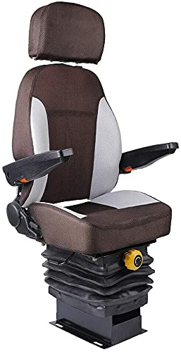 TBVECHI Tractor Seat Suspension & Foldable Armrest Dozer Seat Tractor Skid Steer 110-287 LBS Back Adjustable 60°- 150° for Excavator Fork Lifts