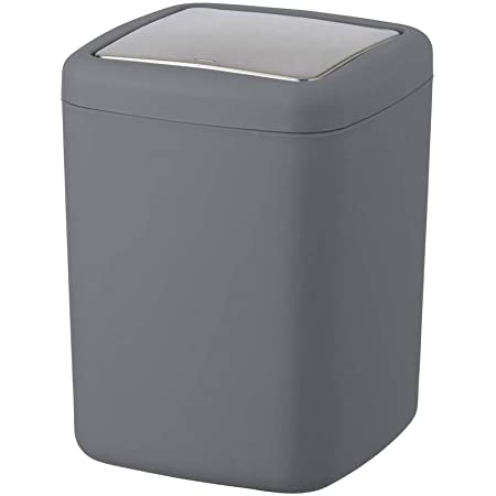 WENKO Poubelle Barcelona anthracite - Poubelle incassable couvercle bacsulant Capacité: 3 l, Plastique (TPE), 15 x 20 x 15 cm, Anthracite