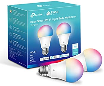 2-Pack Kasa Full Color Changing Dimmable Smart WiFi A19 Light Bulb
