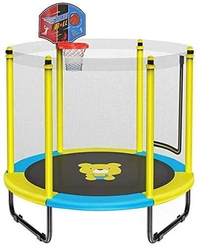 LuoMei Small Trampoline Indoor Fitness Rebounder with Basketball Hoop Trampoline for Kids with Safety Enclosure Net Birthday Gifts for Kids 250Kg Loadyellow