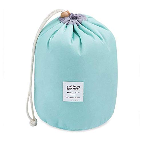 LEAMER Reise-Organizer-Tasche, fassförmig, große Kapazität, wasserdicht, tragbar, modisch, mit Kordelzug, Kosmetiktasche, leicht, multifunktional, Kulturbeutel + kleine Reißverschlusstasche