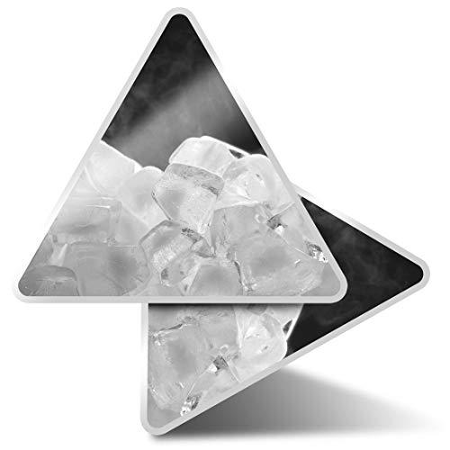 2 pegatinas triangulares de 10 cm BW – Cubos de hielo congelados divertidos adhesivos para ordenadores portátiles, tabletas, equipaje, libros de desechos, neveras, regalo fresco #39617