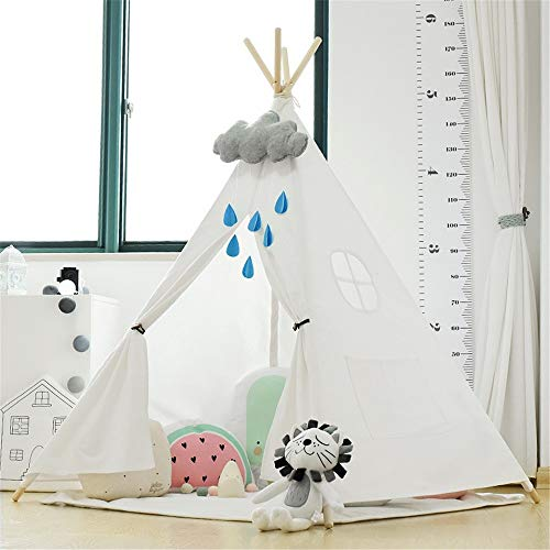 Kids Teepee Play Folding Cotton Canvas Children's Photography Props Indoor and Outdoor Conical Tents With Cushion Window Pockets Indoor and Outdoor Children's Toys (Color : C2, Size : As shown)