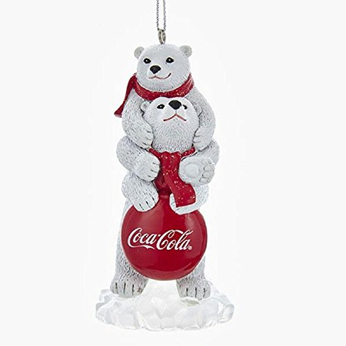 Kurt Adler COCA-COLA POLAR BEARS WITH LOGO SIGN ORNAMENT