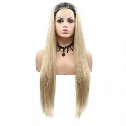 Perücke, Kunsthaar, Blond, für Damen, Sommer, Party, Cosplay, kurz, Spitze, Ombre, langes Haar, 61 cm